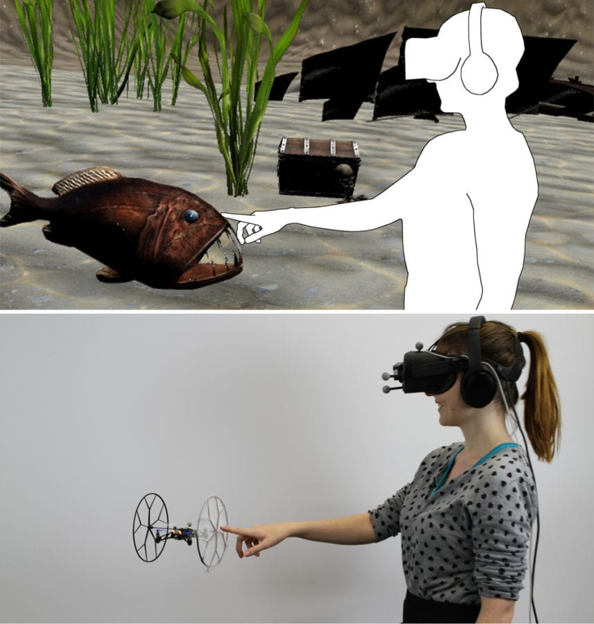 When the user reaches out to touch the virtual angler fish, the system allows the user to experience a congruent haptic stimulus. The system controls a quadcopter at the exact location of the virtual fish to provide a synchronized touchable surface.