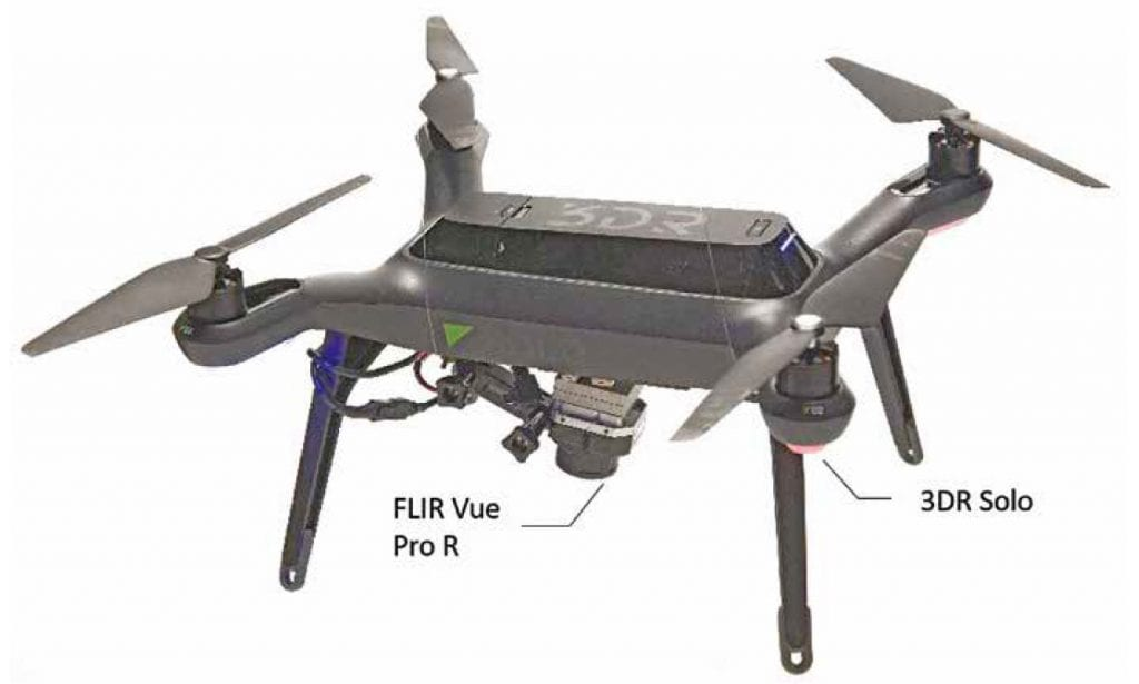 3DR Solo quadcopter with FLIR Vue Pro R camera attached to a fixed mount.