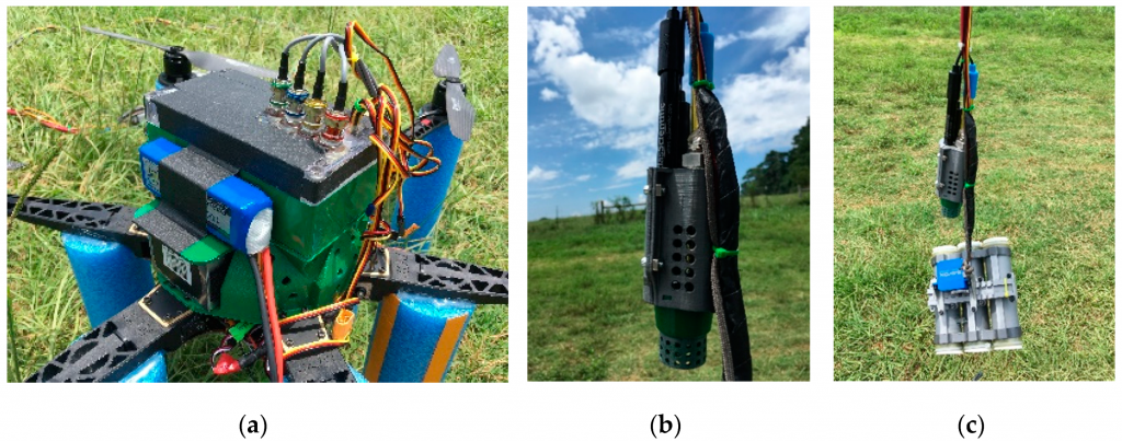 Sensor node; (a) microcontroller platform mounted on top of the unmanned aerial vehicle (UAV), (b) probes dangled from the UAV, and (c) probes located above the water sampling cartridges (WSC).