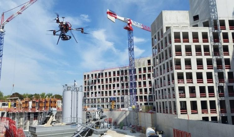 A drone monitors a construction site
