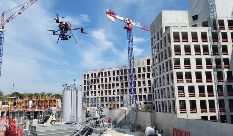 A drone monitors a construction site