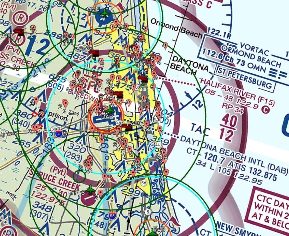 DJI Geofencing plotted on FAA VFR Raster Chart with selected heliport overlays.