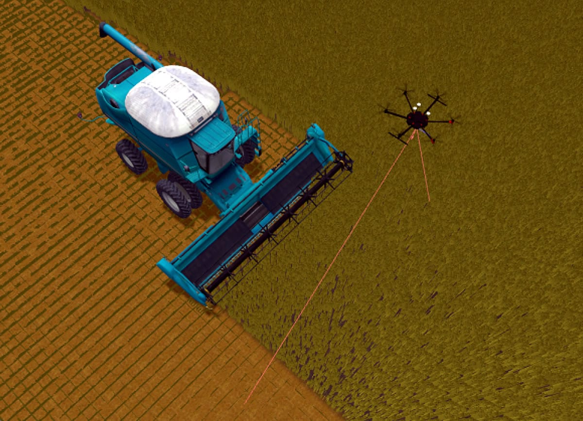 Automated harvesting process, with the unmanned aerial vehicle (UAV) in obstacle detection mode.